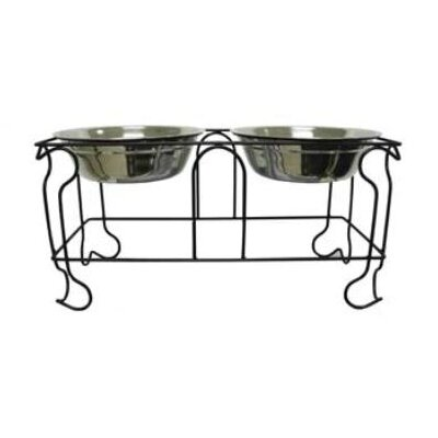 Wrought Iron with Double Bowls Size: Large (9 H x 18.5 W x 9 D)