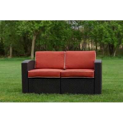 Loggins Loveseat with Cushions Fabric: Orange