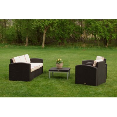 Cielo Patio 4 Piece Deep Seating Group with Cushion Fabric: Ivory