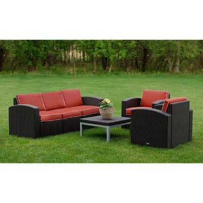 Cielo Patio 4 Piece Deep Seating Group with Cushion Fabric: Cajun Red