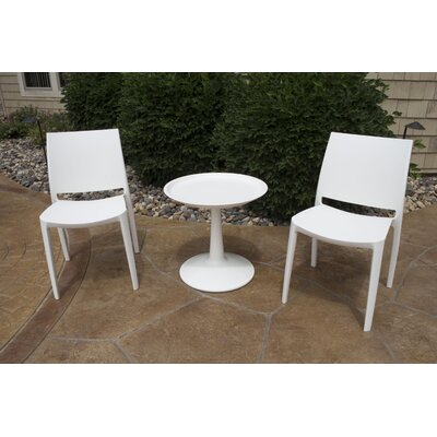 Farley 3 Piece Bistro Set Color: White