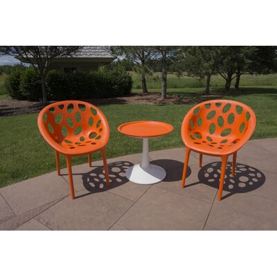 Catherine 3 Piece Bistro Set Color: Orange