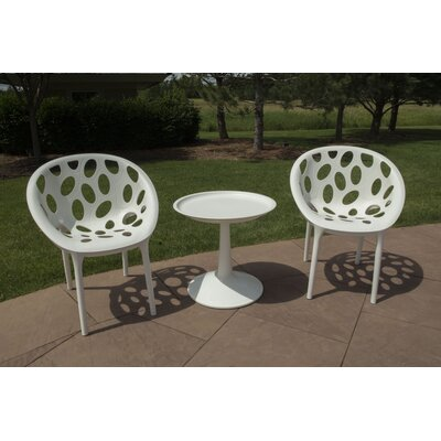 Catherine 3 Piece Bistro Set Color: White