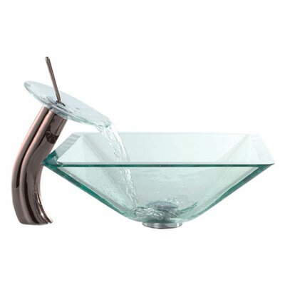 Waterfall Faucet Square Vessel Bathroom Sink Faucet Finish: Oil Rubbed Bronze