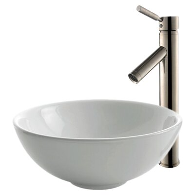Ceramic Circular Vessel Bathroom Sink with Faucet Faucet Finish: Satin Nickel