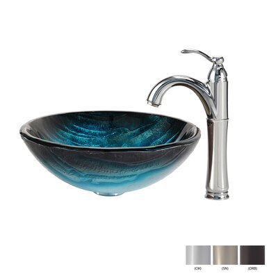 Ladon Glass Circular Vessel Bathroom Sink with Faucet Faucet Finish: Chrome