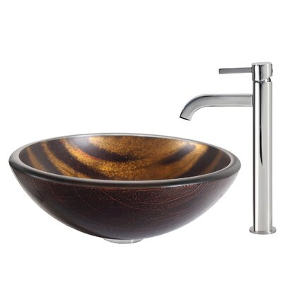 Bastet Glass Circular Vessel Bathroom Sink Faucet Finish: Chrome