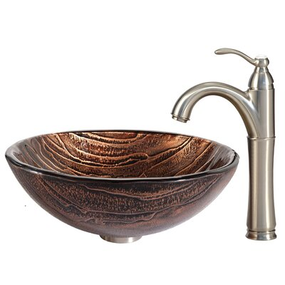 Gaia Glass Circular Vessel Bathroom Sink with Faucet Faucet Finish: Satin Nickel