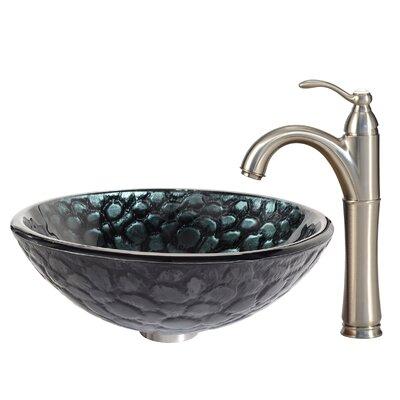 Kratos Glass Circular Vessel Bathroom Sink Faucet Finish: Satin Nickel