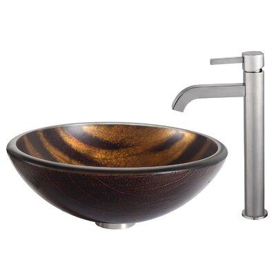Bastet Glass Circular Vessel Bathroom Sink Faucet Finish: Satin Nickel