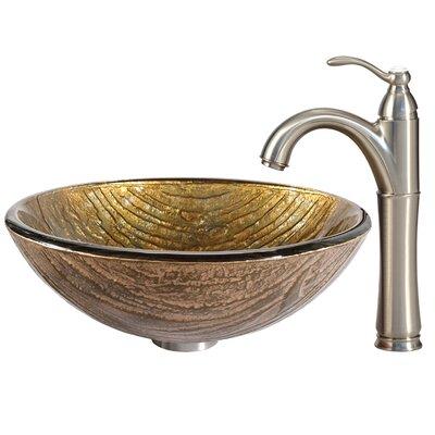 Terra Glass Circular Vessel Bathroom Sink Faucet Finish: Satin Nickel