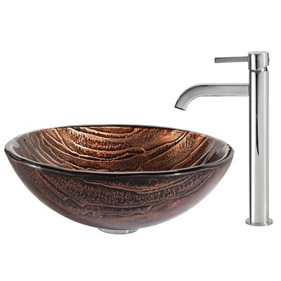 Gaia Glass Circular Vessel Bathroom Sink with Faucet Faucet Finish: Chrome