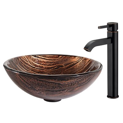 Gaia Glass Circular Vessel Bathroom Sink with Faucet Faucet Finish: Oil Rubbed Bronze