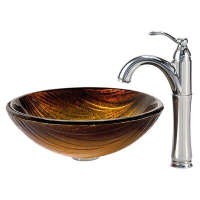 Midas Glass Circular Vessel Bathroom Sink Faucet Finish: Chrome