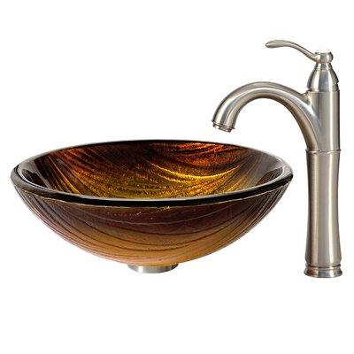 Midas Glass Circular Vessel Bathroom Sink Faucet Finish: Satin Nickel