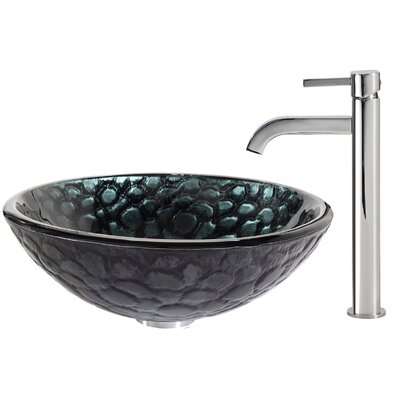 Kratos Glass Circular Vessel Bathroom Sink Faucet Finish: Chrome