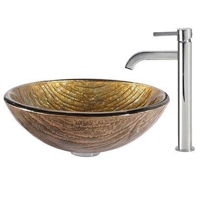 Terra Glass Circular Vessel Bathroom Sink Faucet Finish: Chrome