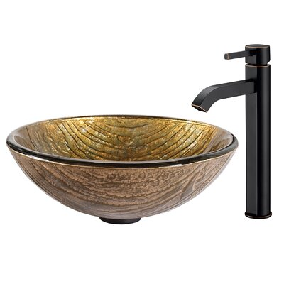 Terra Glass Circular Vessel Bathroom Sink Faucet Finish: Oil Rubbed Bronze