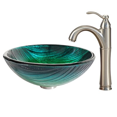 Glass Circular Vessel Bathroom Sink with Faucet Faucet Finish: Satin Nickel