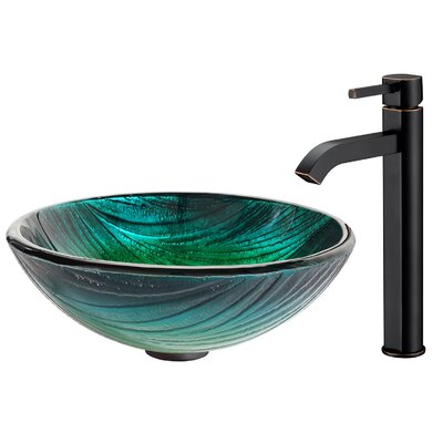 Nei Glass Circular Vessel Bathroom Sink Faucet Finish: Oil Rubbed Bronze