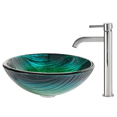 Nei Glass Circular Vessel Bathroom Sink with Faucet Faucet Finish: Chrome