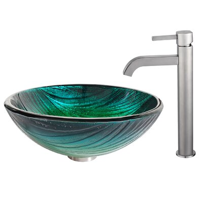 Nei Glass Circular Vessel Bathroom Sink with Faucet Faucet Finish: Satin Nickel