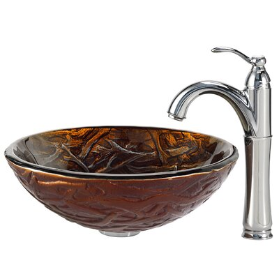 Dryad Glass Circular Vessel Bathroom Sink Faucet Finish: Chrome