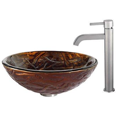 Dryad Glass Circular Vessel Bathroom Sink Faucet Finish: Satin Nickel