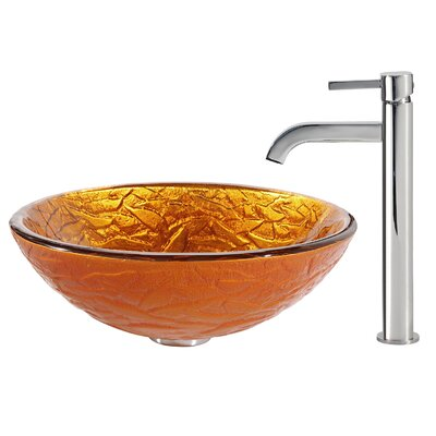 Blaze Glass Circular Vessel Bathroom Sink Faucet Finish: Chrome