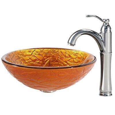 Blaze Glass Circular Vessel Bathroom Sink Faucet Finish: Chrome