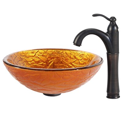 Blaze Glass Circular Vessel Bathroom Sink Faucet Finish: Oil Rubbed Bronze