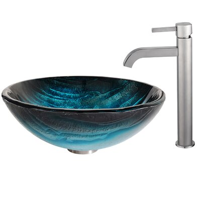 Ladon Glass Circular Vessel Bathroom Sink Faucet Finish: Satin Nickel