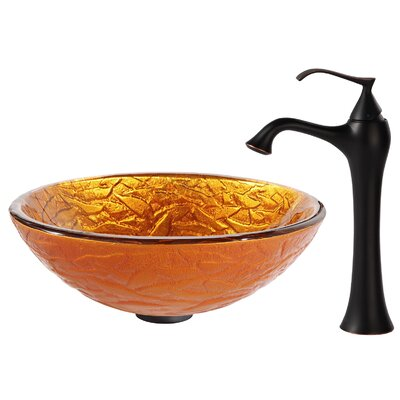 Blaze Glass Circular Vessel Bathroom Sink Faucet Finish: Oil Rubbed Bronze