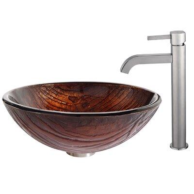 Titania Glass Circular Vessel Bathroom Sink Faucet Finish: Satin Nickel