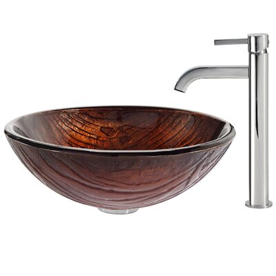 Titania Glass Circular Vessel Bathroom Sink Faucet Finish: Chrome