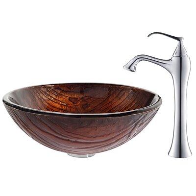 Titania Glass Circular Vessel Bathroom Sink Faucet Finish: Chrome