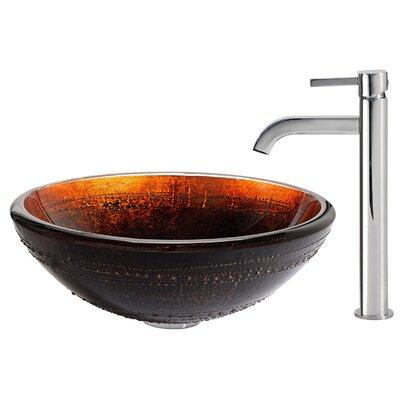 Prometheus Glass Circular Vessel Bathroom Sink Faucet Finish: Chrome