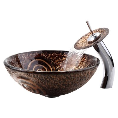 Copper Circular Vessel Bathroom Sink with Overflow Faucet Finish: Chrome