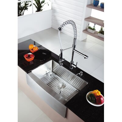 29.7 x 20.75 Farmhouse Kitchen Sink with Faucet and Soap Dispenser Faucet Finish: Chrome
