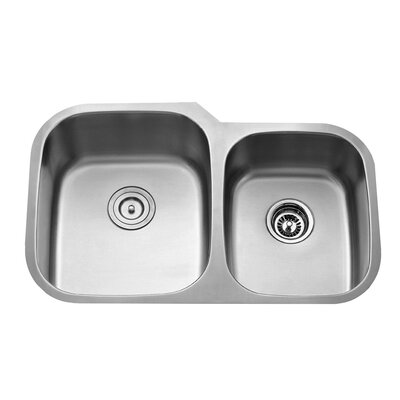 Stainless Steel 32 x 20.75 8 Piece Double Basin Undermount Kitchen Sink Set with Faucet and Soap Dispenser Faucet Finish: Stainless Steel