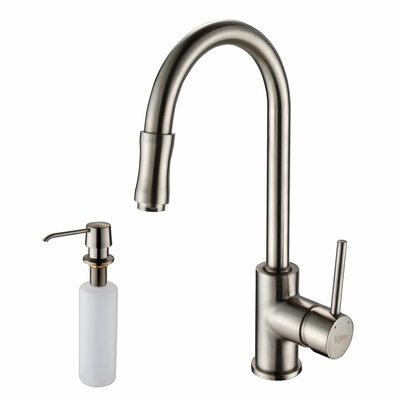 35.88 x 20.75 Farmhouse Kitchen Sink with Faucet and Soap Dispenser Faucet Finish: Satin Nickel