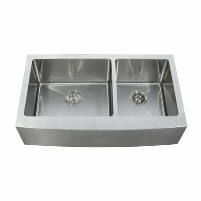 35.88 x 20.75 Double Basin Farmhouse Kitchen Sink with Faucet and Soap Dispenser Faucet Finish: Satin Nickel