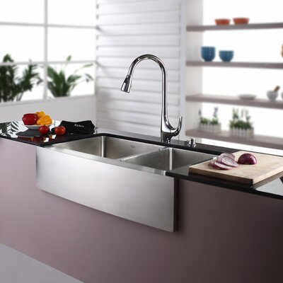 35.88 x 20.75 Farmhouse Double Basin Kitchen Sink with Faucet and Soap Dispenser Faucet Finish: Chrome