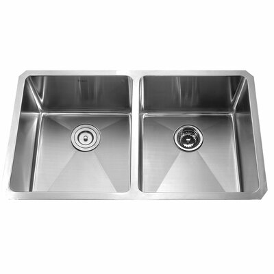 32.75 x 19 Double Basin Undermount Kitchen Sink with Faucet and Soap Dispenser Faucet Finish: Stainless Steel