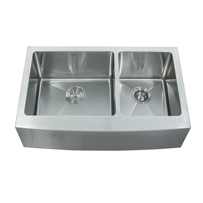32.88 x 20.75 Farmhouse Double Basin Kitchen Sink with Faucet and Soap Dispenser Faucet Finish: Satin Nickel