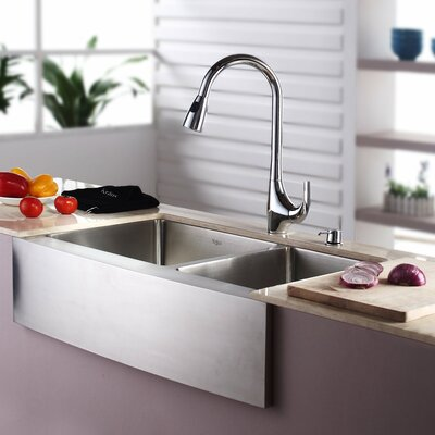 32.88 x 20.75 Double Basin Farmhouse Kitchen Sink with Faucet and Soap Dispenser Faucet Finish: Chrome