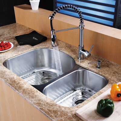31.5 x 20.5 Double Basin Undermount Kitchen Sink Set with Faucet and Soap Dispenser Faucet Finish: Chrome