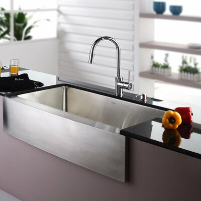 35.88 x 20.75 Farmhouse Kitchen Sink with Faucet and Soap Dispenser Faucet Finish: Chrome