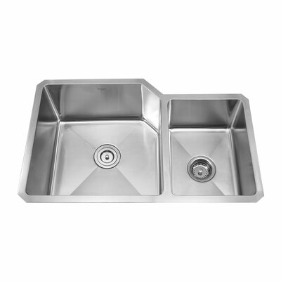 Stainless Steel 32 x 20 Double Basin Undermount Kitchen Sink with Faucet and Soap Dispenser Faucet Finish: Satin Nickel