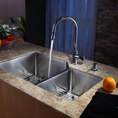 Stainless Steel 32 x 20 Double Basin Undermount Kitchen Sink with Faucet and Soap Dispenser Faucet Finish: Chrome